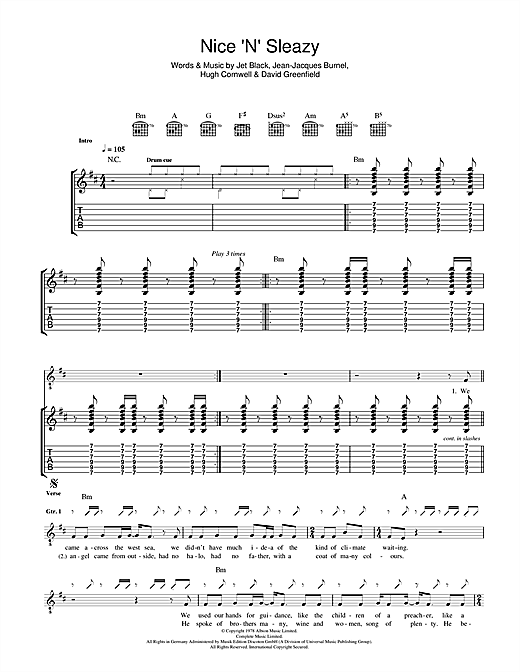 The Stranglers Nice 'N' Sleazy sheet music notes and chords