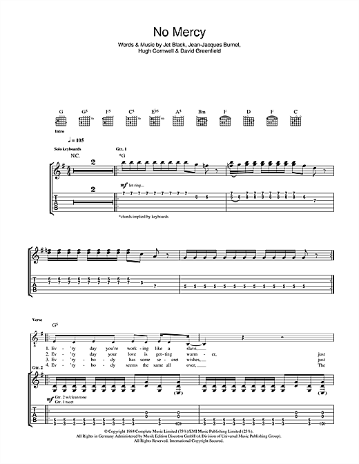 The Stranglers 'No Mercy' Sheet Music Notes, Chords | Download Printable  Guitar Tab - SKU: 40779