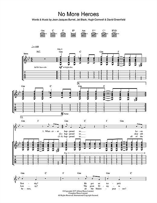The Stranglers No More Heroes sheet music notes and chords. Download Printable PDF.