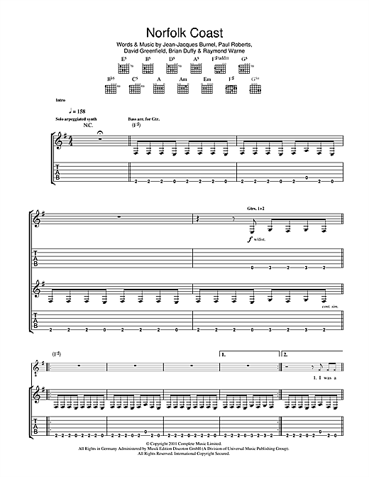 The Stranglers Norfolk Coast sheet music notes and chords. Download Printable PDF.