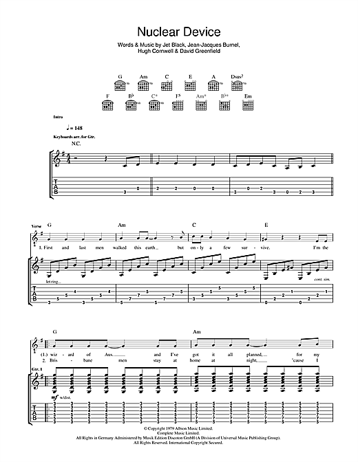 The Stranglers Nuclear Device sheet music notes and chords. Download Printable PDF.