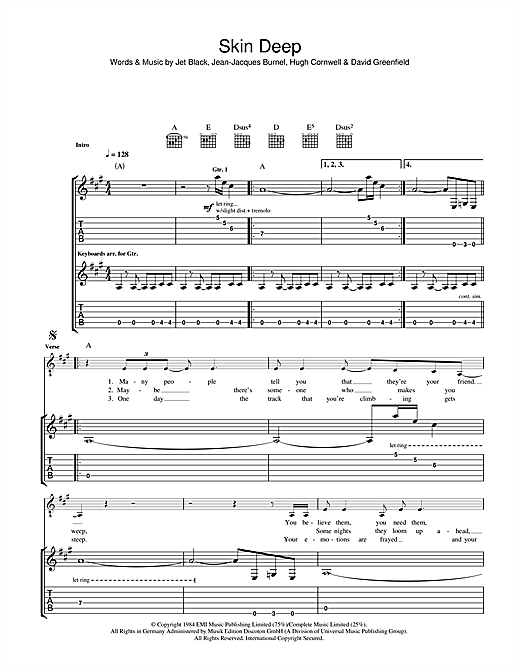 The Stranglers Skin Deep sheet music notes and chords