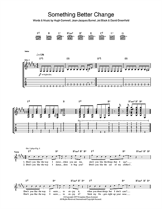 The Stranglers Something Better Change sheet music notes and chords. Download Printable PDF.