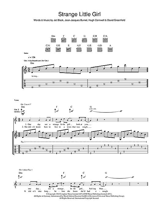 The Stranglers Strange Little Girl sheet music notes and chords