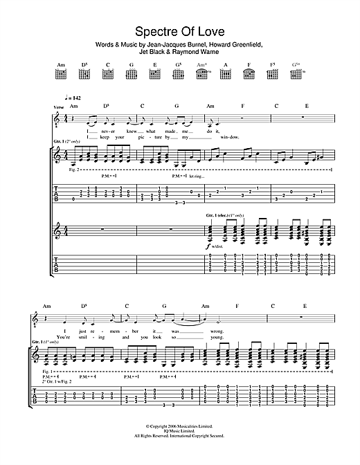 The Stranglers 'The Spectre Of Love' Sheet Music Notes, Chords | Download  Printable Guitar Tab - SKU: 47455