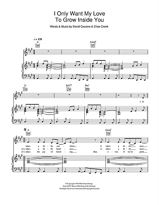The Strawbs I Only Want My Love To Grow In You sheet music notes and chords. Download Printable PDF.