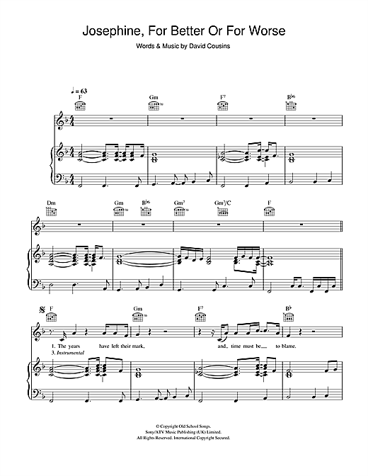 The Strawbs Josephine, For Better Or For Worse sheet music notes and chords. Download Printable PDF.