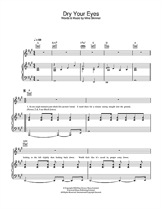 The Streets Dry Your Eyes sheet music notes and chords