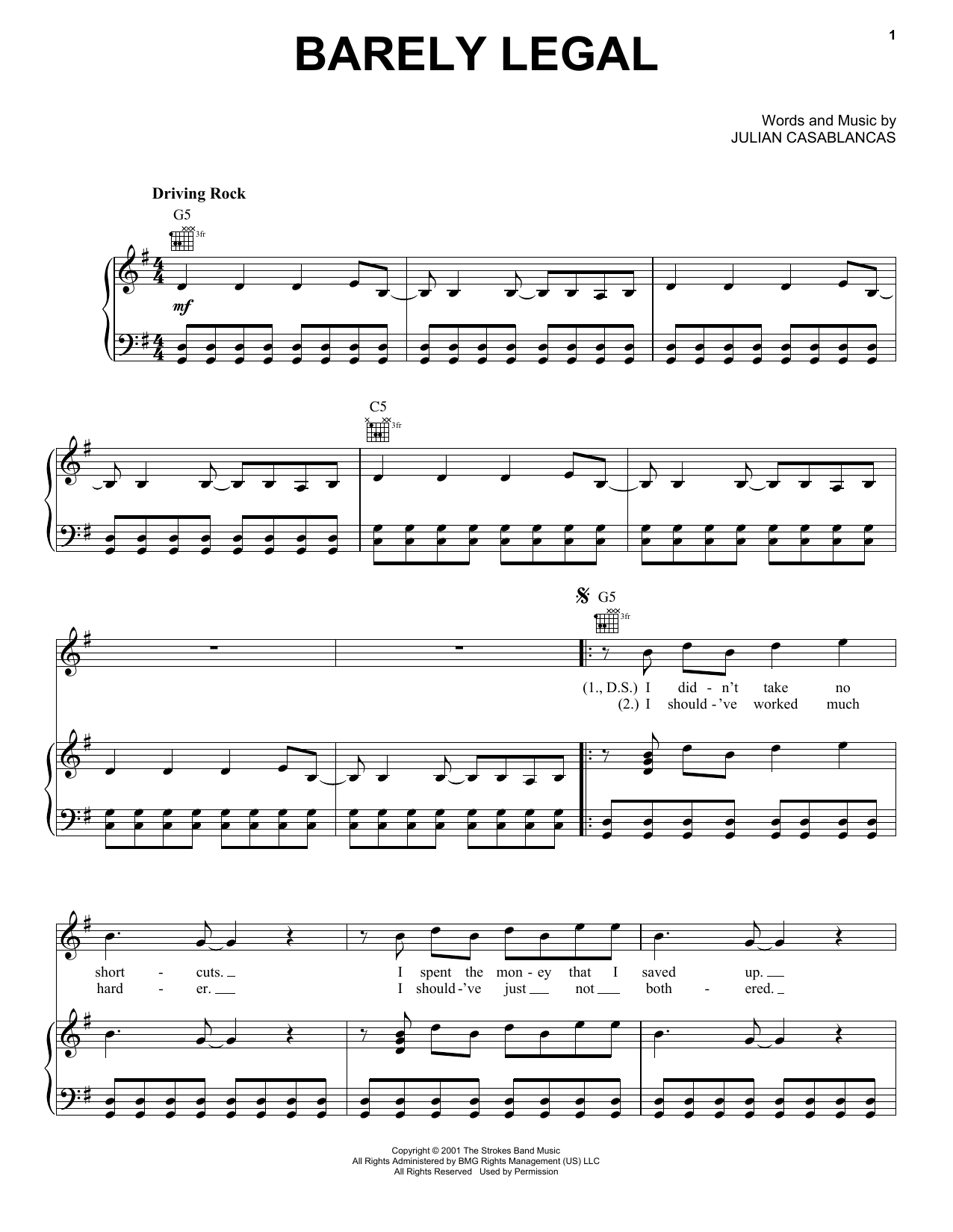 The Strokes Barely Legal Sheet Music Notes, Chords   Download Printable  Guitar Tab PDF Score   SKU 15