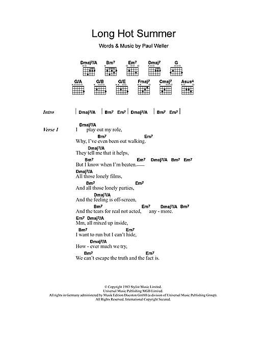 The Style Council Long Hot Summer sheet music notes and chords. Download Printable PDF.