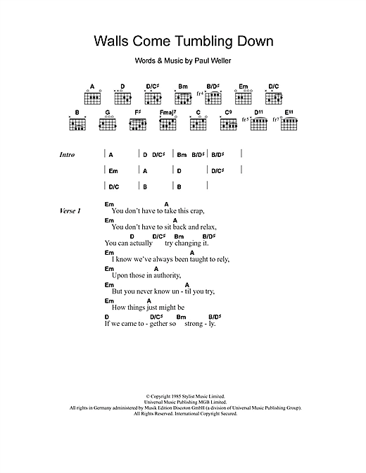 The Style Council Walls Come Tumbling Down sheet music notes and chords. Download Printable PDF.