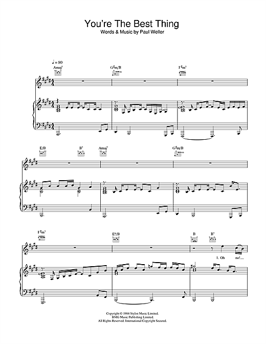 The Style Council You're The Best Thing sheet music notes and chords. Download Printable PDF.