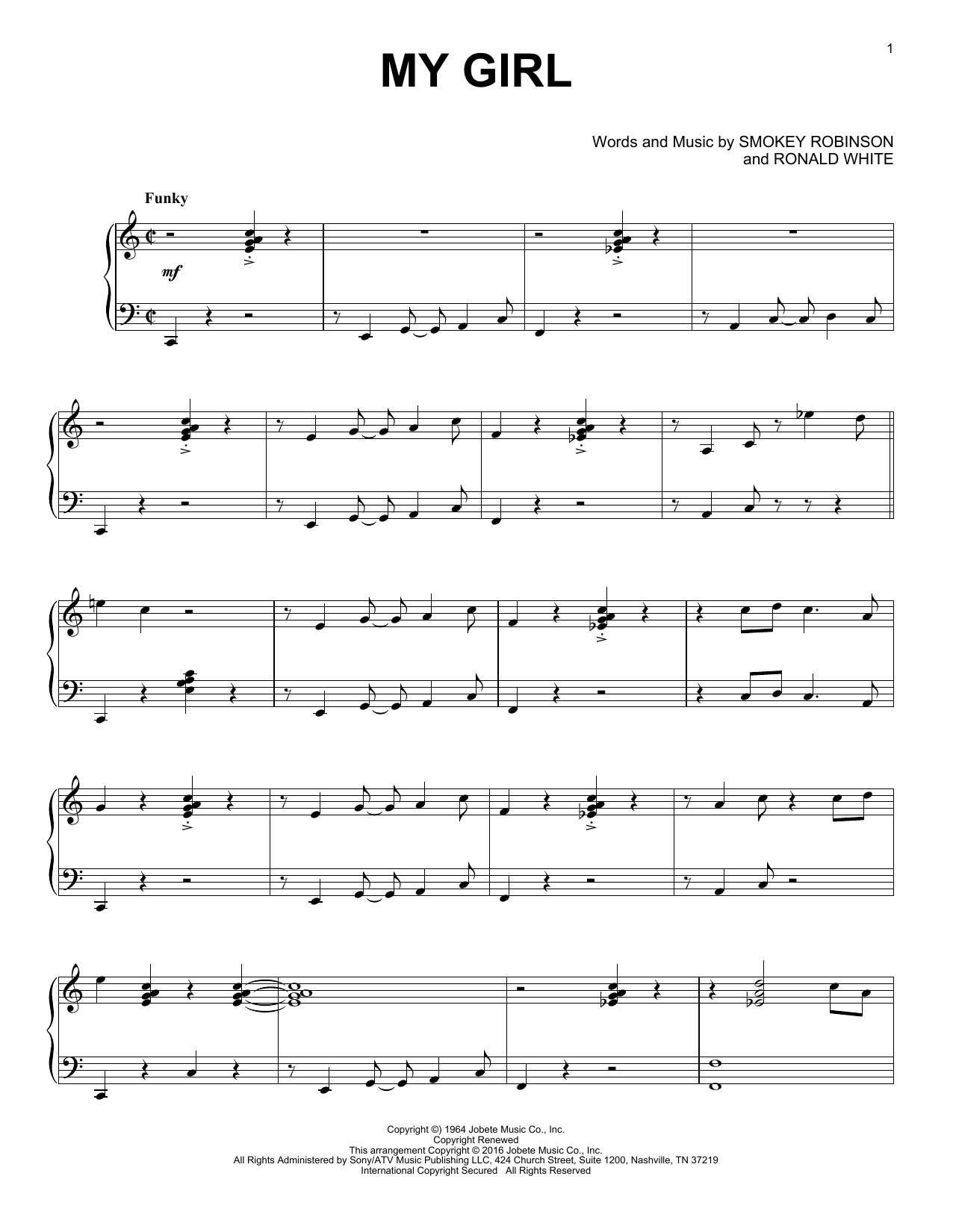 The Temptations My Girl [Jazz version] sheet music notes and chords. Download Printable PDF.