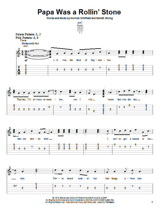 The Temptations Papa Was A Rollin' Stone sheet music notes and chords