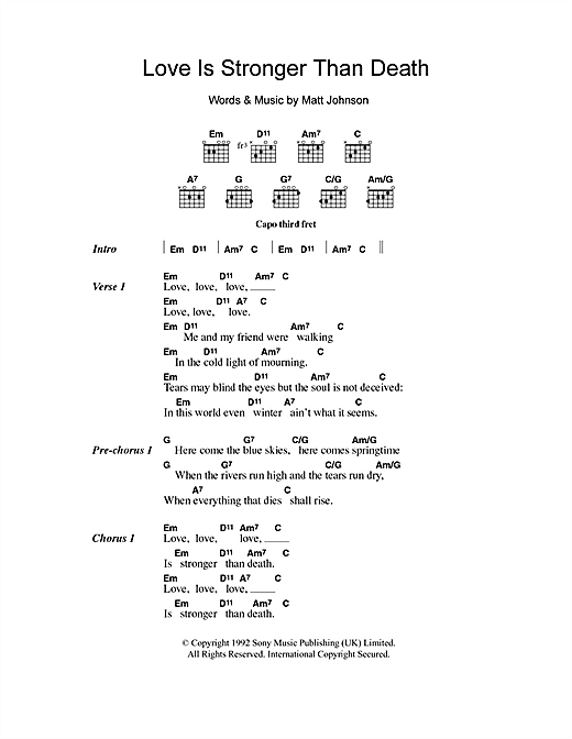 The The Love Is Stronger Than Death sheet music notes and chords. Download Printable PDF.