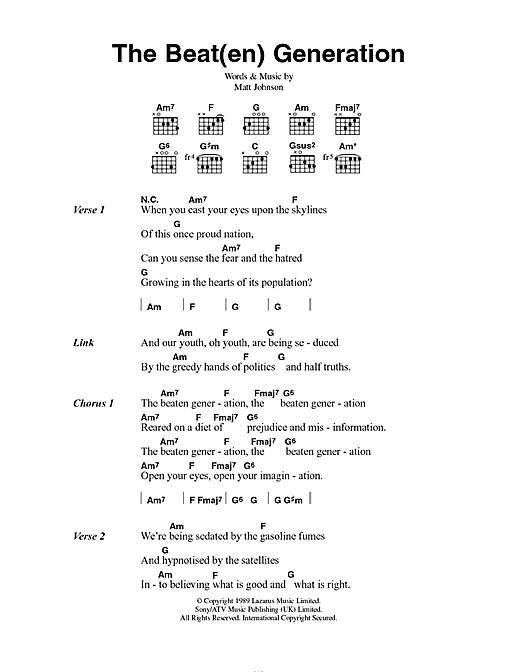 The The The Beat(en) Generation sheet music notes and chords. Download Printable PDF.