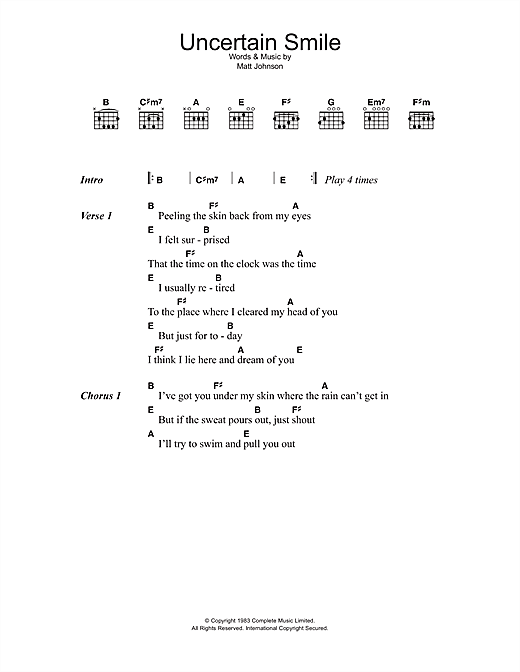 The The Uncertain Smile sheet music notes and chords. Download Printable PDF.