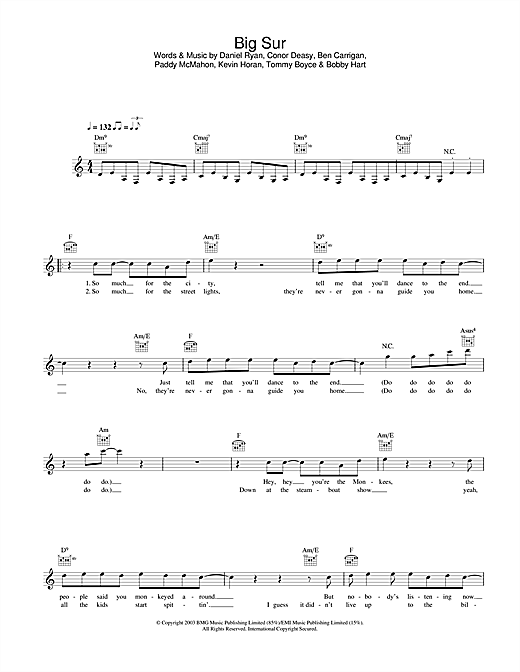 The Thrills Big Sur sheet music notes and chords. Download Printable PDF.