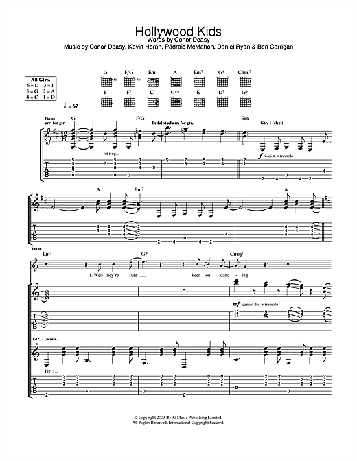 The Thrills Hollywood Kids sheet music notes and chords. Download Printable PDF.