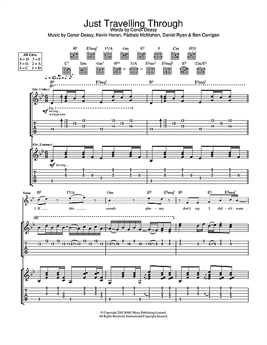 The Thrills Just Travelling Through sheet music notes and chords. Download Printable PDF.