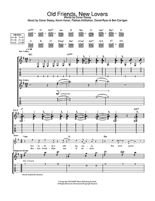 The Thrills Old Friends, New Lovers sheet music notes and chords. Download Printable PDF.