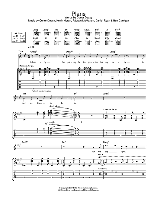 The Thrills Plans sheet music notes and chords. Download Printable PDF.