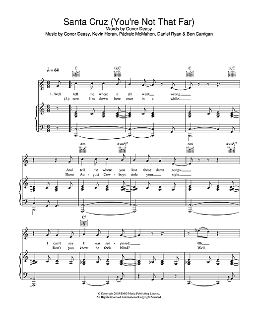 The Thrills Santa Cruz (You're Not That Far) sheet music notes and chords. Download Printable PDF.