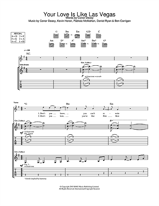 The Thrills Your Love Is Like Las Vegas sheet music notes and chords. Download Printable PDF.