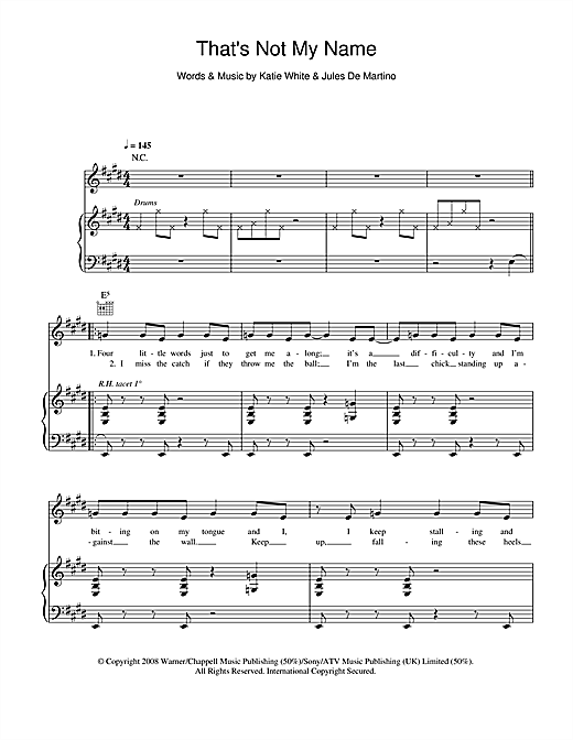 The Ting Tings That's Not My Name sheet music notes and chords. Download Printable PDF.