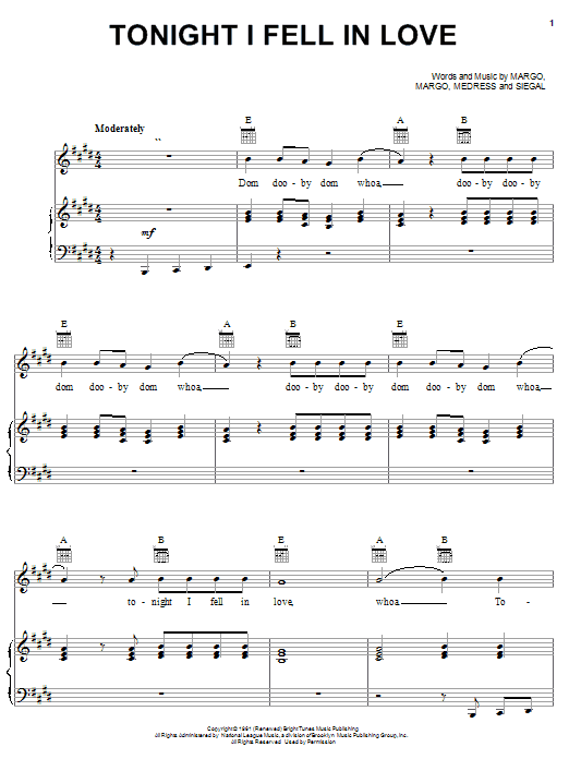 The Tokens Tonight I Fell In Love sheet music notes and chords. Download Printable PDF.