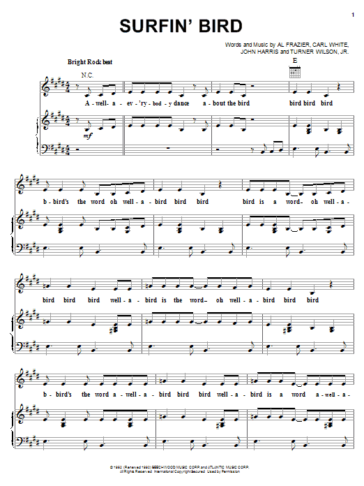 The Trashmen Surfin' Bird sheet music notes and chords. Download Printable PDF.