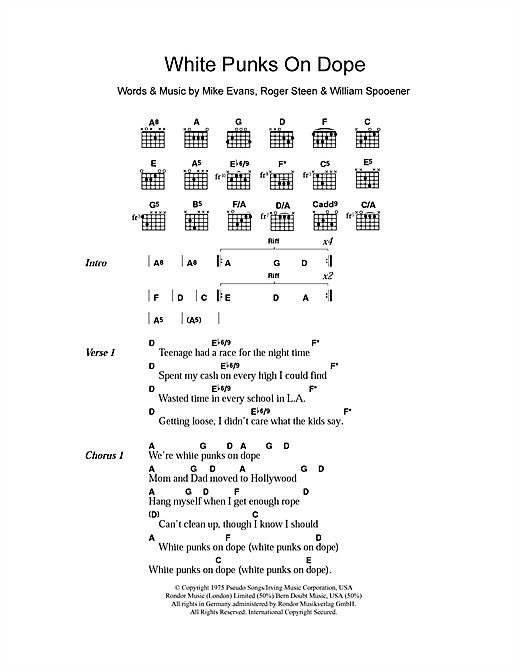 The Tubes White Punks On Dope sheet music notes and chords. Download Printable PDF.