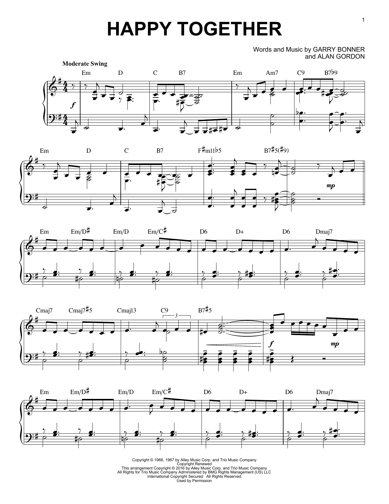 The Turtles Happy Together [Jazz version] arr. Brent Edstrom Sheet Music  Notes, Chords   Download Printable Piano Solo PDF Score   SKU 15