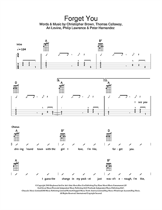 The Ukuleles Forget You sheet music notes and chords. Download Printable PDF.
