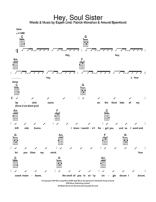 The Ukuleles Hey, Soul Sister sheet music notes and chords. Download Printable PDF.