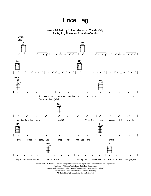 The Ukuleles Price Tag sheet music notes and chords