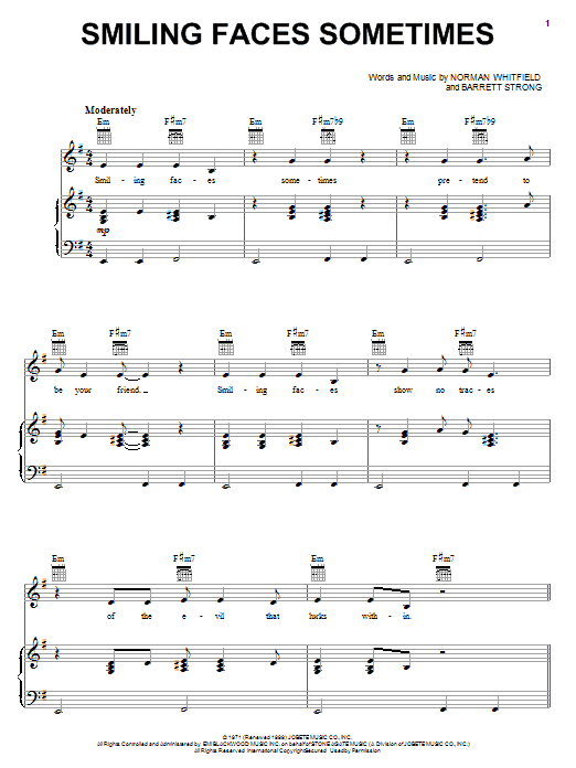 The Undisputed Truth Smiling Faces Sometimes sheet music notes and chords. Download Printable PDF.