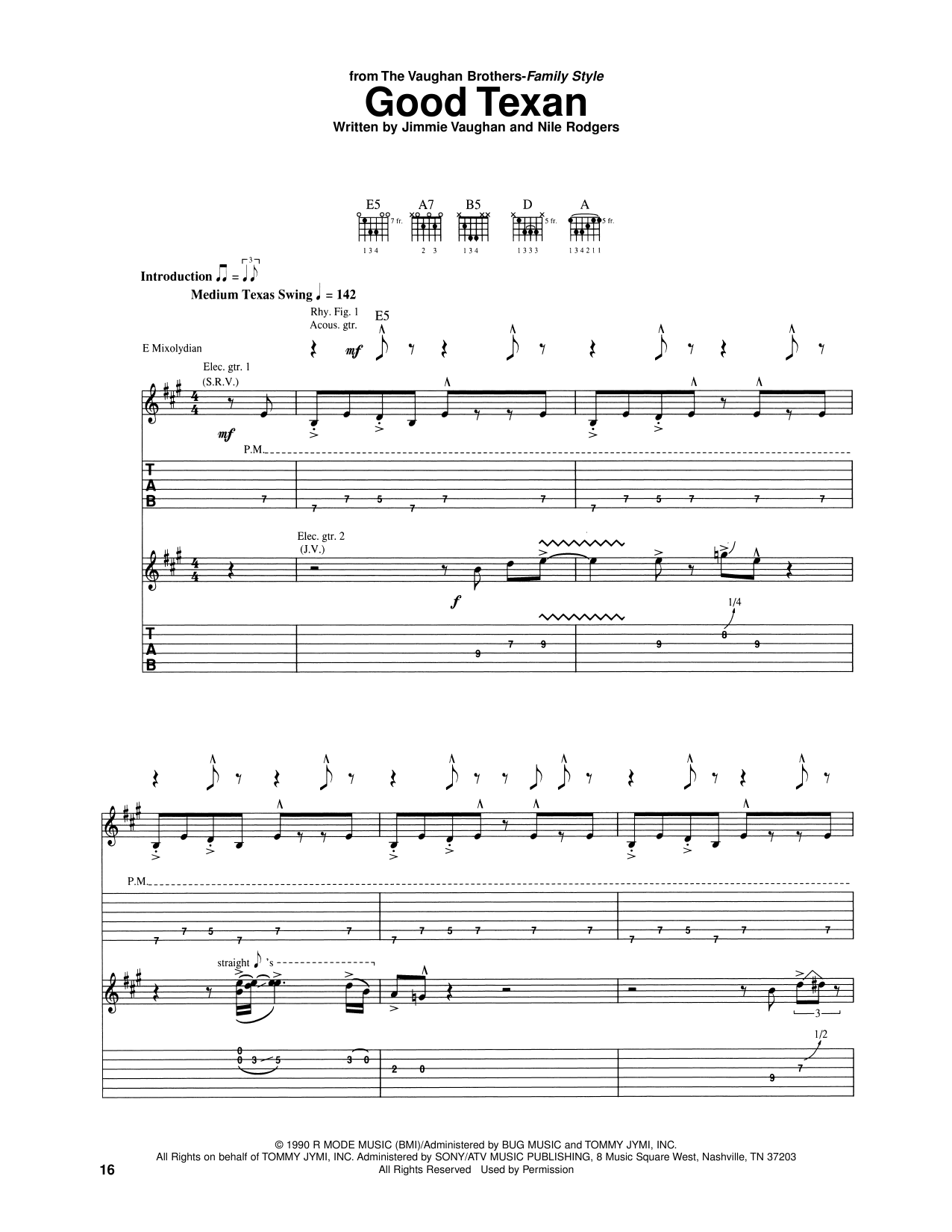 The Vaughan Brothers Good Texan sheet music notes and chords. Download Printable PDF.