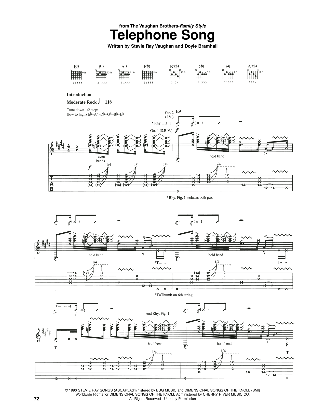 The Vaughan Brothers Telephone Song sheet music notes and chords. Download Printable PDF.