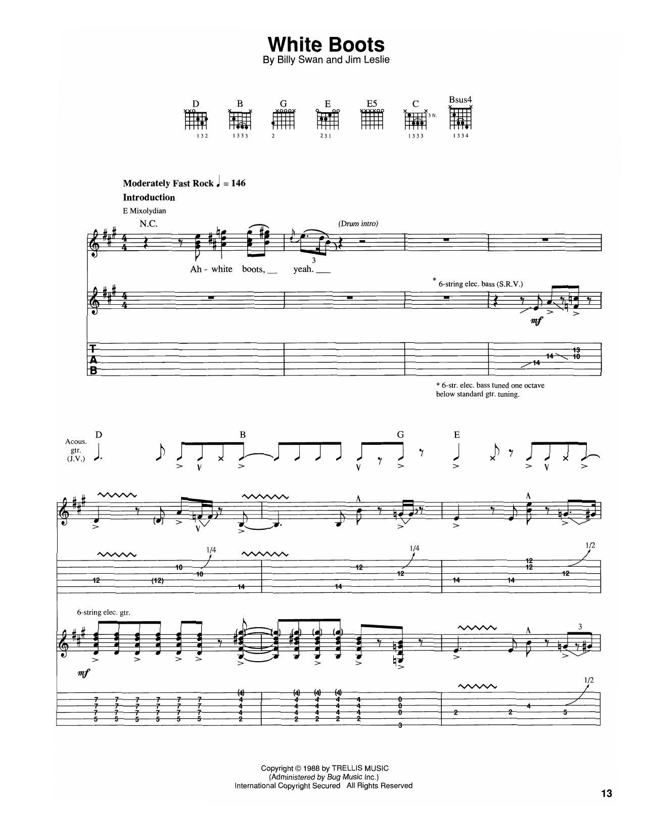 The Vaughan Brothers White Boots sheet music notes and chords. Download Printable PDF.