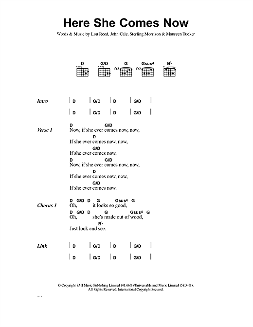 The Velvet Underground Here She Comes Now sheet music notes and chords. Download Printable PDF.