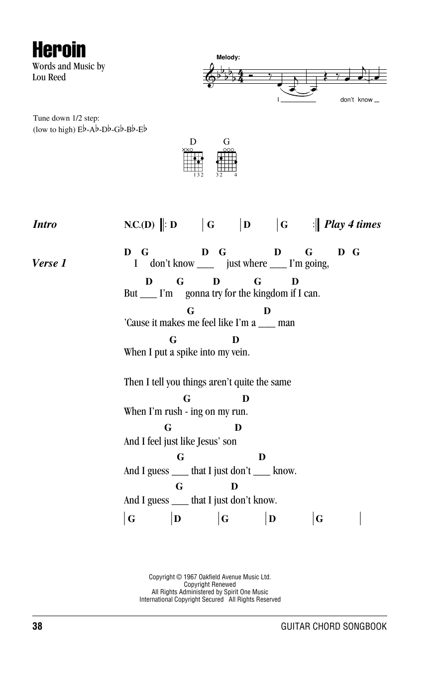 The Velvet Underground Heroin sheet music notes and chords. Download Printable PDF.
