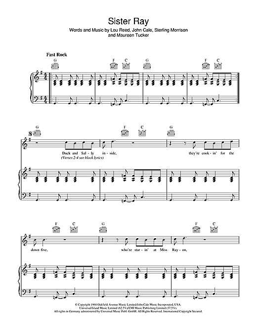 The Velvet Underground Sister Ray sheet music notes and chords. Download Printable PDF.