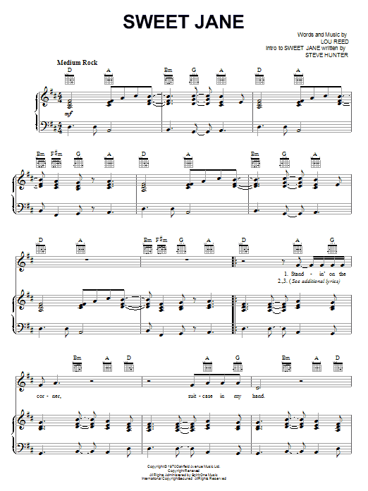 The Velvet Underground Sweet Jane sheet music notes and chords. Download Printable PDF.
