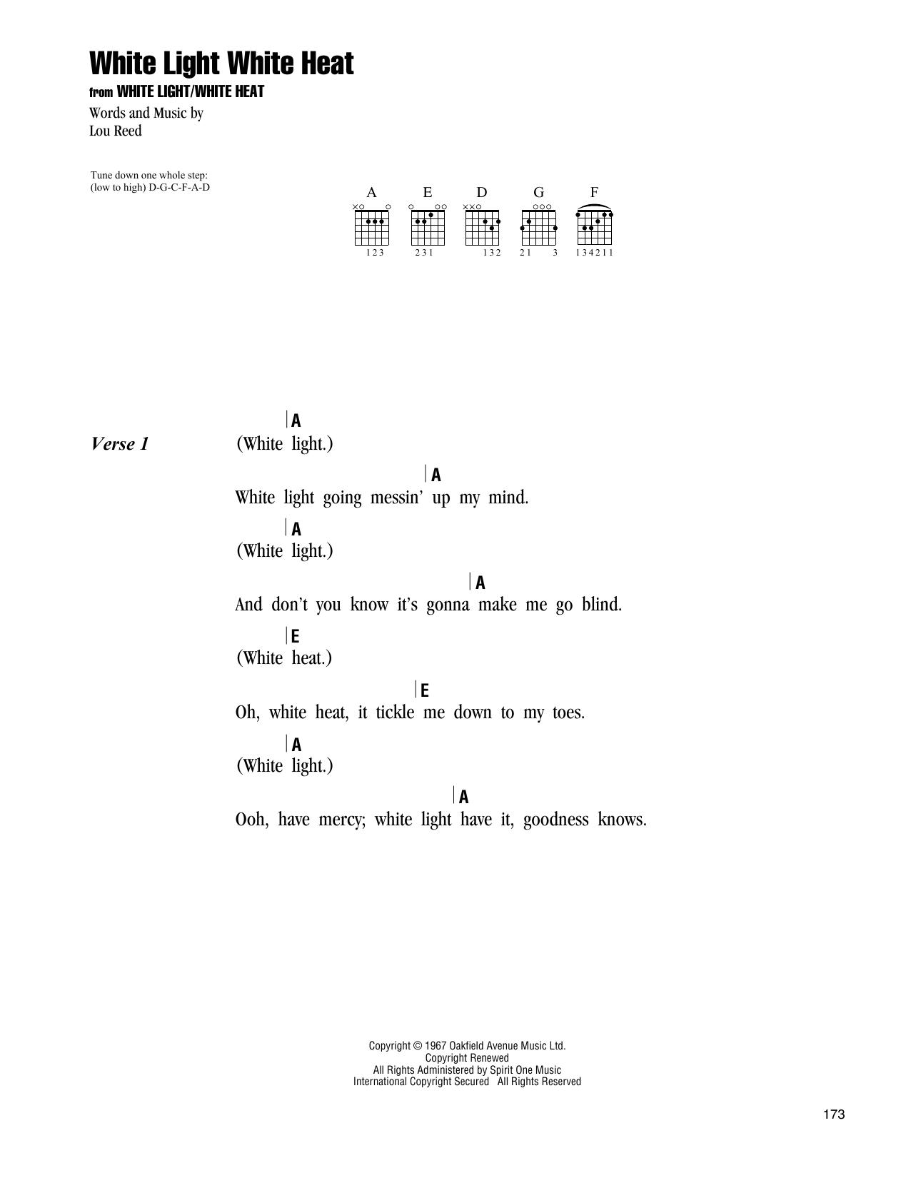 The Velvet Underground White Light White Heat sheet music notes and chords. Download Printable PDF.