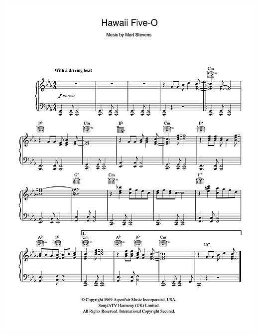 The Ventures Hawaii Five-O sheet music notes and chords