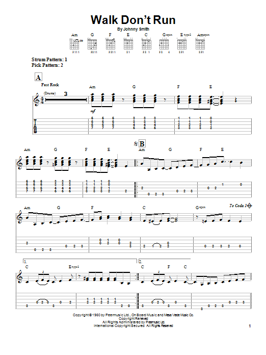 The Ventures Walk Don't Run sheet music notes and chords