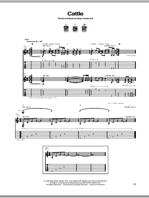 The Verve Pipe Cattle sheet music notes and chords. Download Printable PDF.