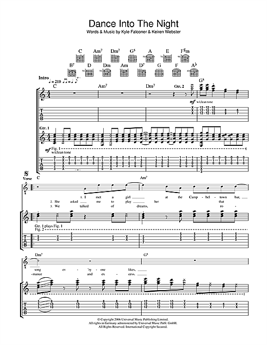 The View Dance Into The Night sheet music notes and chords. Download Printable PDF.