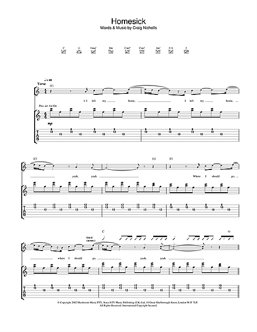 The Vines Homesick sheet music notes and chords. Download Printable PDF.
